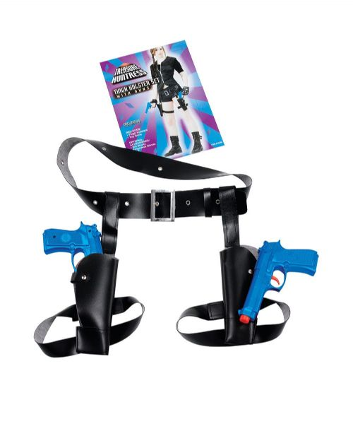 Thigh Twin Holster Set With Guns Gun Cowboy Cop Sheriff Police Fancy Dress